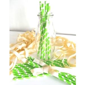 Pajitas-papel-verdes-lunares-blancos