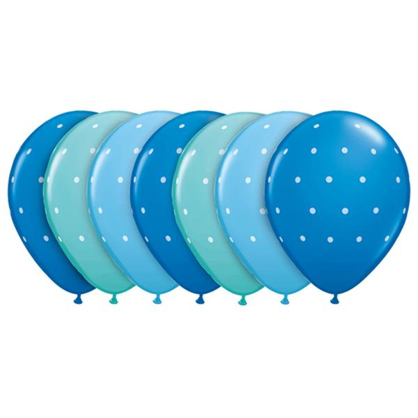 globos azules topos blancos