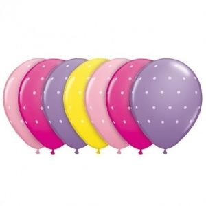 globos rosas topos blancos