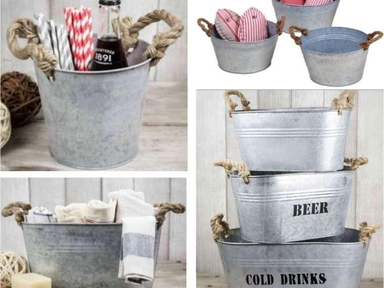 Mesa bebidas vintage. Cubos y Baldes Metálicos