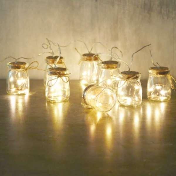 Guirnalda Tarros Cristal con luz. Navidad ya estas aqui