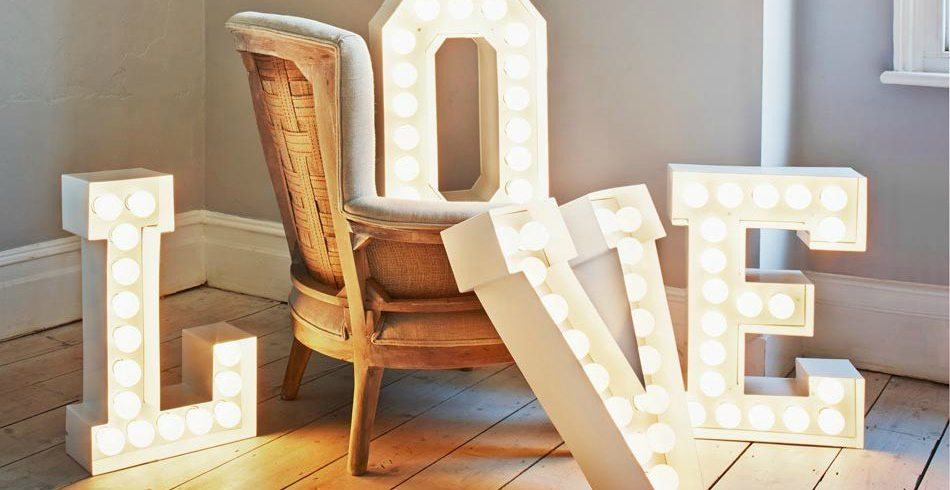 Lo último en decoracion letras con luz Marquee Love