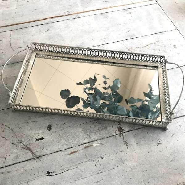 Bandejas plateadas con espejo vintage