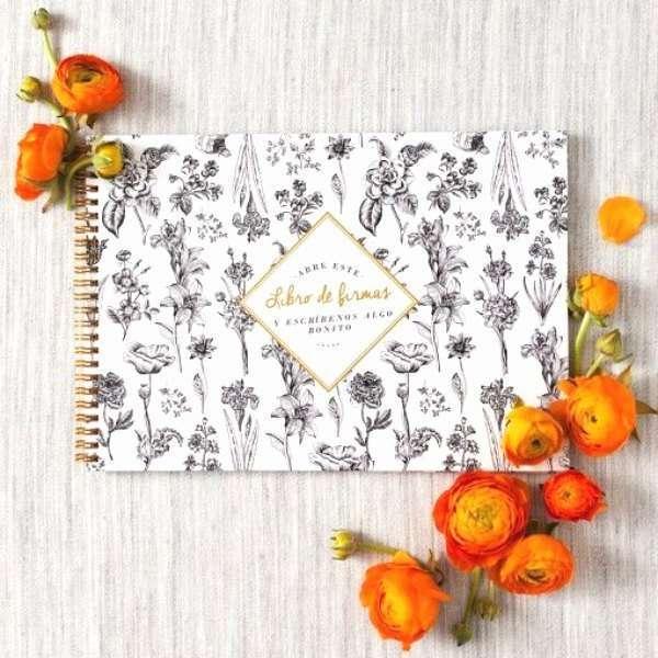 Libro firmas boda flores - El libro de firmas perfecto