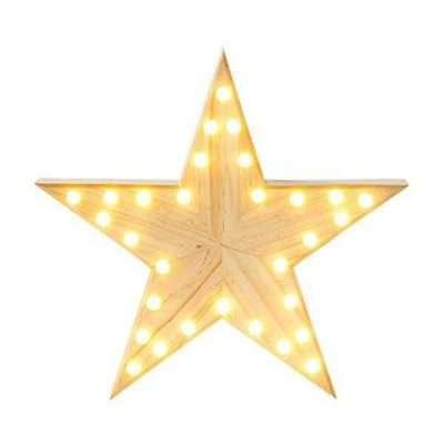 estrella madera con luz led