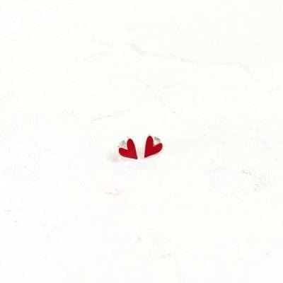 Pendientes forma de corazon rojo plata