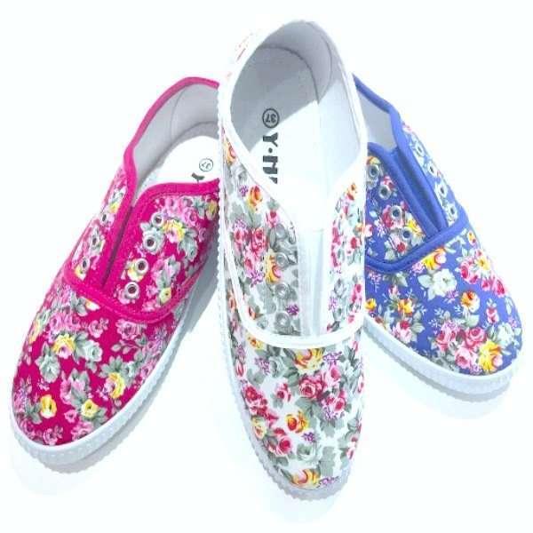 Zapatillas loneta flores Mujer