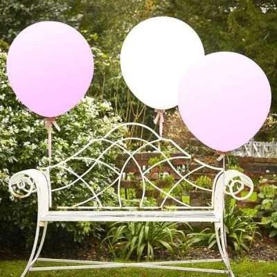 Globos Gigantes blanco y rosa