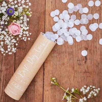 Mini Cañon confeti blanco boda