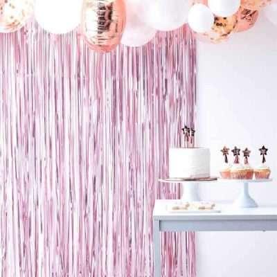 Cortina rosa photocall boda