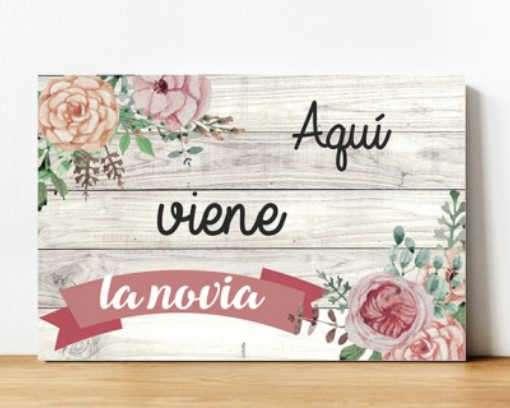 Carteles madera boda flores
