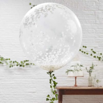 globo gigante confeti blanco