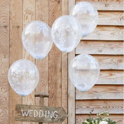 globos confeti blanco