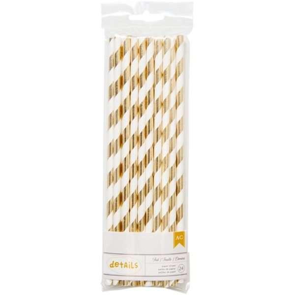 American-Crafts-detalles-Juego-de-pajitas-de-papel-2-Color-Dorado-Rayas-acrlico-multicolor-3-piezas-B01FV5YADQ
