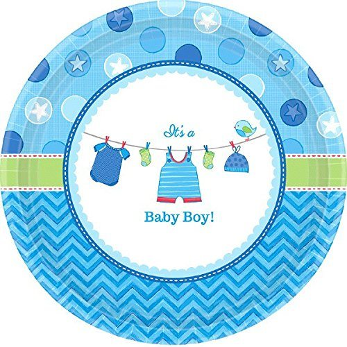 Platos de papel baby shower niño