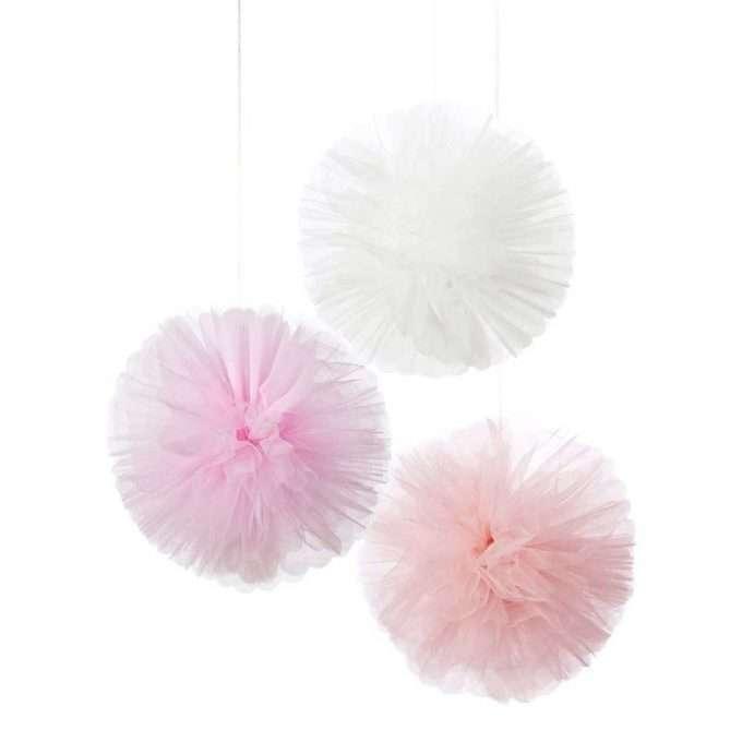 Pompones de tul rosa y blanco